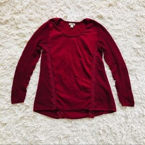 LUCKY BRAND • Eyelet Panel Long Sleeved Top • Red